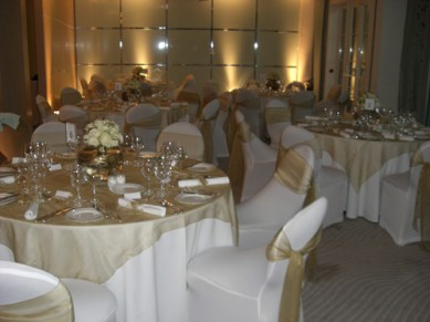 Gold and white setting
